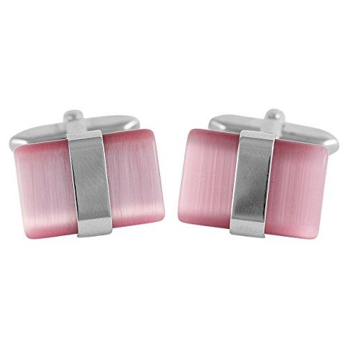 ACCESSORIES exclusive Boutons de manchette Homme, Katzenauge rosa, im Etui, 3145
