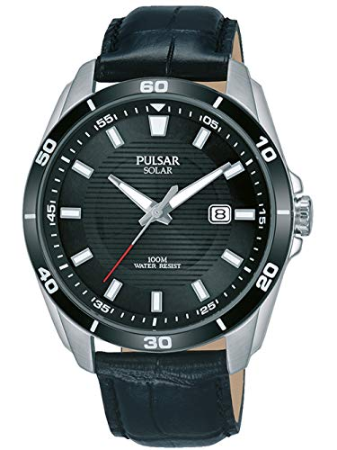 PULSAR- SOLAR GENTS STAINLESS STEEL BLACK DIAL STRAP WATCH