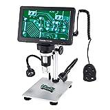 Koolertron デジタル顕微鏡 USBマイクロスコープ 7インチLCDモニター搭載16G TFカード 1-1200X倍率 12MP 8つLEDライト付き 有線リモコン 充電式バッテリー内蔵回路基板修理など用 電子顕微鏡