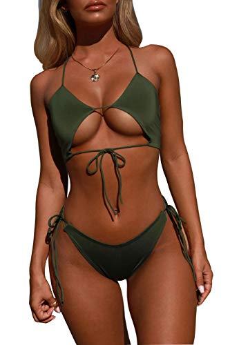 Aelle Damen Bikini Set Zwei Stücke, Sexy Dreieck Badeanzug Volltonfarbe Openwork Bademode Frauen Schwimmen Kostüm Klassische Einfache Beachwear (XL, Grün)