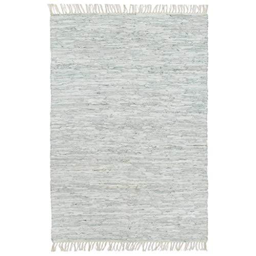 vidaXL Teppich Chindi Handgewebt Webteppich Handwebteppich Flickenteppich Fleckerlteppich Lederteppich Wohnzimmerteppich Leder 80x160cm Hellgrau