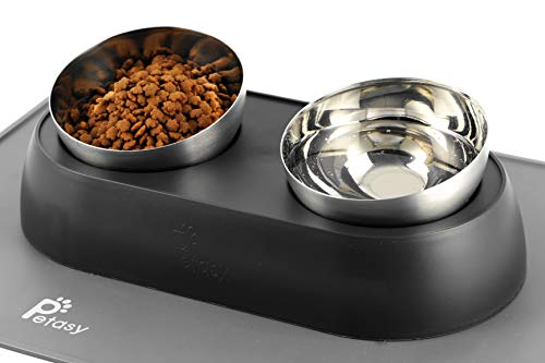 Petasy Elevated Cat Food Bowls with Silicone Feeding Mat for Kittens, Cats, Small Dogs - Anti-Stress...