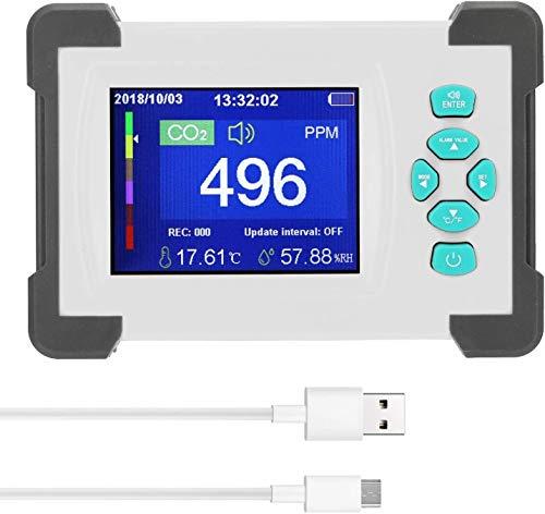 vbaxy Wandmontierbarer CO2-Detektor Kohlendioxid-Detektor 3-in-1-Luftfeuchtigkeitsmesser mit 3,2-Zoll-Vollfarbdisplay und wiederaufladbar Batteriefach