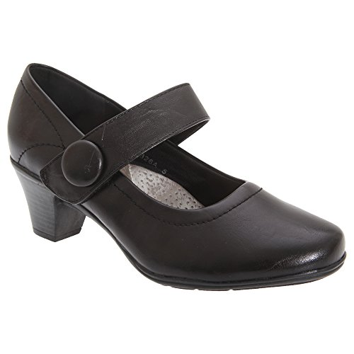 Boulevard Damen Absatzschuhe/Pumps/Mary-Jane-Schuhe, mittlere Absatzhöhe, Klettverschluss (40 EUR) (Schwarz)