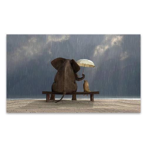 BGFDV Pintura de Elefante Animal Puesta de Sol Amor Arte de la Pared Lienzo Pintura Cartel impresión Sala de Estar decoración Pintura