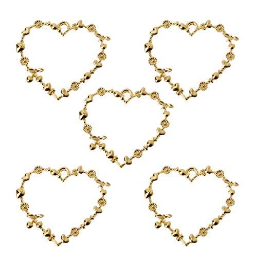 ZJL220 5 marcos de resina en blanco con forma de corazón dulce para hacer joyas