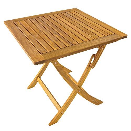 Klapptisch Tisch quadratisch (75 x 75 cm) klappbar Holz Akazie Garten Balkon FSC