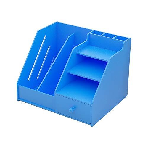 Estantería de escritorio de oficina con cajón organizador de archivos, organizador de almacenamiento, estante de exhibición para mostrador de mostrador para la oficina en el hogar (color: azul)