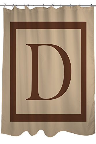 Manual Woodworkers & Weavers Shower Curtain, Monogrammed Letter D, Caramel Classic Block