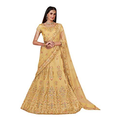 Yellow Bollywood Designer Partykleid Braut die Linen Seide Bridal Lehenga Choli Ghagra Top Rock Dress Dupatta Dupatta Damenkleid Traditionelle...