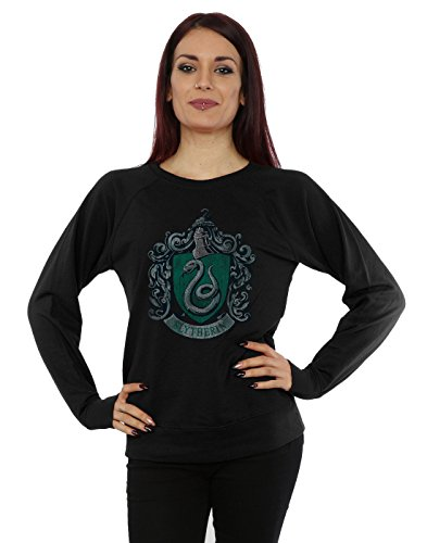 HARRY POTTER Femme Slytherin Distressed Crest Sweat-Shirt XX-Large Noir