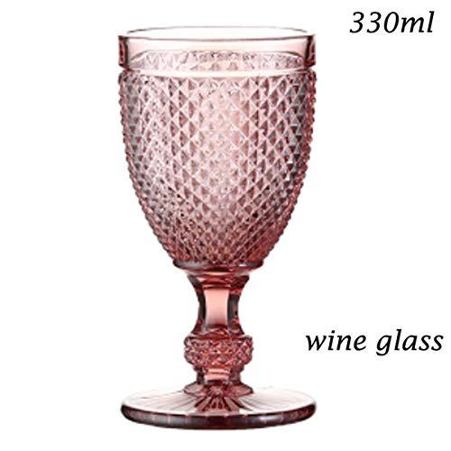 Champagneglas waterglas voor drinkwijn, geverfd saladeglas voor dranken, melk, glas, ijsglas, schaal loodvrij, glas, blauw, roze