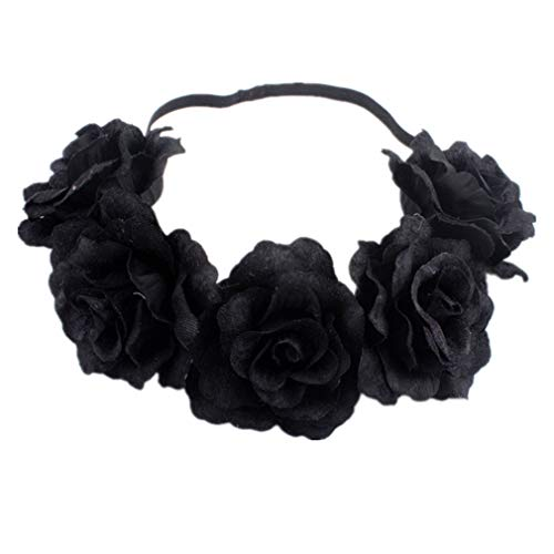 YAZILIND rosa flor corona boda novia guirnalda tocado estiramiento diadema de la...