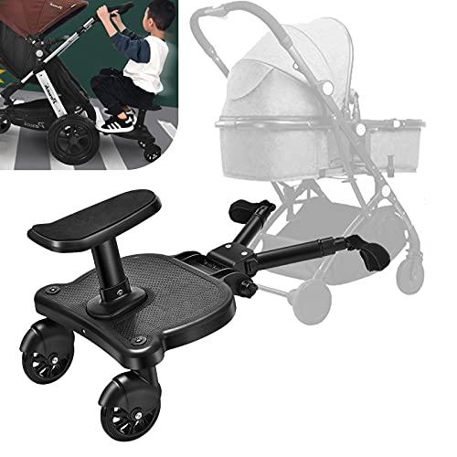 Vihir Mini Buggy Board con asiento Cochecito para el Segundo niño, Pedal Auxiliar Conector extraíble Asiento, Accesorio para niños de 2 a 6 años compatible con casi todas las sillitas de paseo