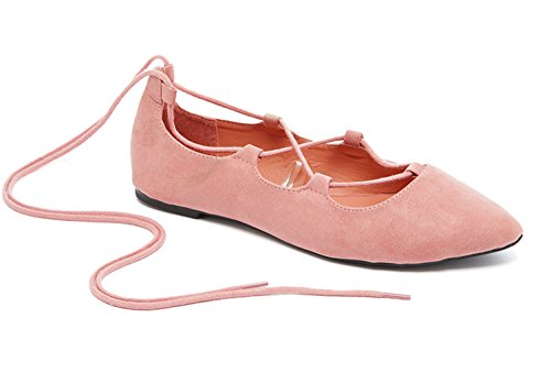 Charles Albert Ghille Lace Up Pointy Toe Leg Tie Ballet Flat (8, Blush)