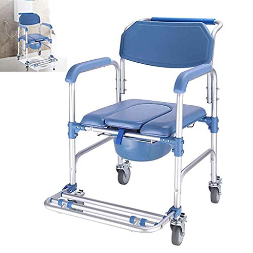 LYHXXX Toilet Chair, Bathroom Chair with Wheelchair Shower, 4 Wheel Brake (360 °) / Folding Mobile Toilet 250 Lbs Obese Disabled