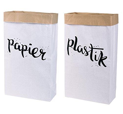 Lifestyle Lover 2er Pack Papiersack Paper Bag eckig aus Kraftpapier Mülleimer \'Papier & Plastik\'