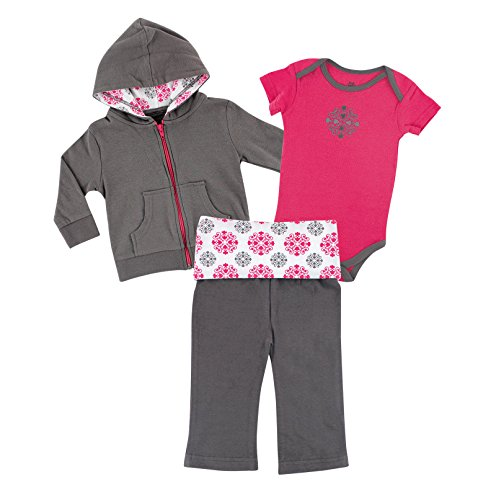 Yoga Sprout Baby 3 Piece Jacket, Top and Pant Set, Pink Medallion, 18-24 Months (24M)