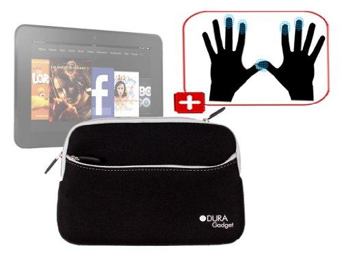 """DURAGADGET Housse étui résistant en néoprène Noir + Gants capacitifs conducteurs Taille M (Moyen) pour Nouvelle Tablette Kindle Fire 7"""" et Fire HD d'A"""