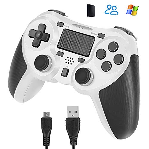 Welltop Controller wireless per PlayStation 4, Dual Vibration Shock Controller PS4 Gamepad Joystick ricaricabile per PS4, PS4 Slim, PS4 Pro con Touch Pad, Light Bar e Jack audio (bianca)