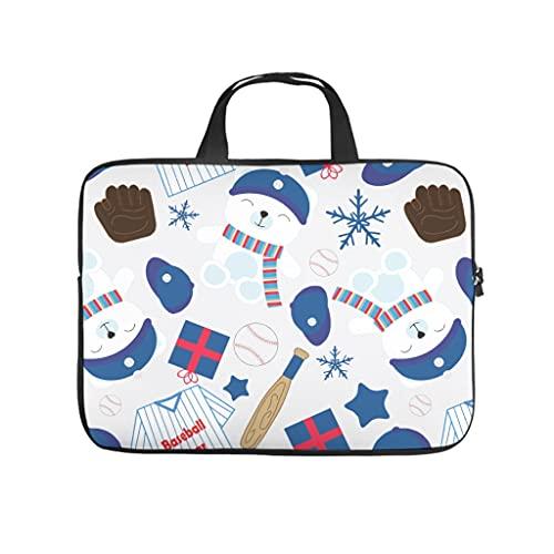 Facbalaign Bolsa para portátil con diseño de oso de béisbol, resistente al agua, suave, resistente al desgaste, con asa., Blanco, 12 pulgadas,