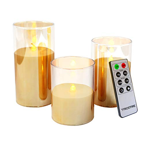 Mooncandles - 3 Clear Glass Real Wax Flameless LED Candles with Timer and Remote Control