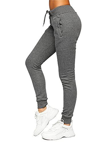 BOLF Mujer Pantalón Deportivo Pantalón de Chándal Largos Jogger Pantalones de Algodón Slim Fit CK-01 Grafito L [F6F]