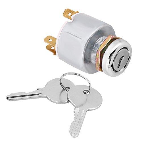 Qiilu 12V 2 chiavi Universal Interruttore di accensione Auto 4 Posizione ON OFF Start Comandi interruttore di accensione W / 2 Chiavi SPB501 alluminio argento