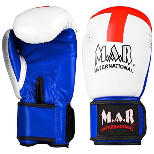 MAR International Ltd Designer BoxingKickboxingThai Boxing Gloves with Moulded Foam Padding and St Georges Flag Design Thumb Lock Design Rex Leather 10 oz NCAT 115