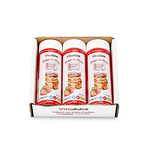Erdbeersirup ohne Zucker, kalorienarmer Sirup, Erdbeertopping 400 gr. Pack 3 - Vitadulce