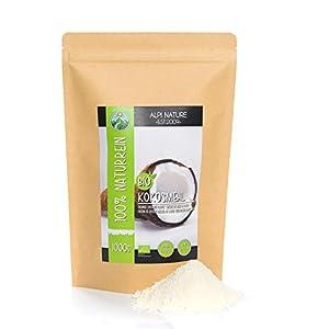 Harina de coco orgánica (1kg), ecológica, bio, calidad de alimentos crudos de cultivo orgánico controlado, sin gluten, sin lactosa, probado en laboratorio, vegano
