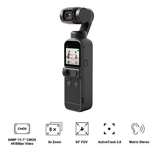 """DJI Pocket 2 - 3-Achsen Kamerastabilisierung 4K, Vlog, Ultra-HD-Video, 64 MP hochauflösendes Foto, 1/1.7"""" CMOS, Lärmreduzierung, Zeitraffer, Slow Motion, 8x Zoom, Livestreaming"""