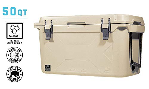 BISON COOLERS Medium 50 Quart Rotomolded Cooler Box for Beer, Liquid or Lunch | Long Lasting Ice Chest with Hard Shell, Lid and Liner | Includes 5 Year Warranty | Made in The USA
