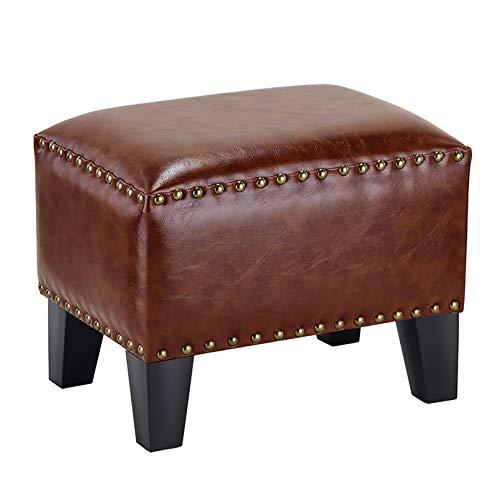 Cubos Puff Otomano,Cuero Tapizado Pufffe Footstool Madera Maciza Cuadrado Banco Pequeño Taburete De Banco De Zapatos Puff Seat Salón-Yo 36 * 26 * 30cm