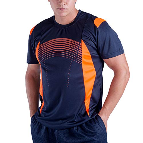 Summer Clothes Slim Fit Collared Mens 3XL T Shirts Moisture Wicking Quick Dry Fashion Athletic Tee Shirts Short Sleeve Casual Workout Running Top(Navy,XXXL)