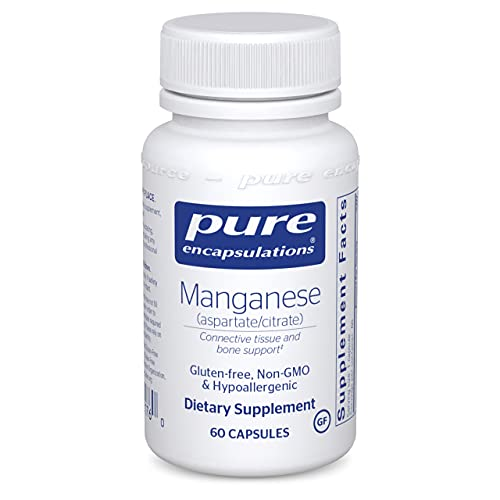 Pure Encapsulations - Manganese (Aspartate/Citrate) - Hypoallergenic Trace Mineral Supplement for Connective Tissue and Bones - 60 Capsules