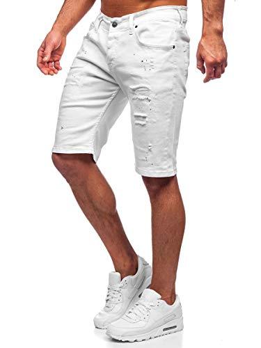 BOLF Hombre Pantalón Corto Vaquero Pantalones Vaqueros Denim Shorts Pantalón de Algodón Cargo Estilo Diario RWX 3030-1 Blanco M [7G7]