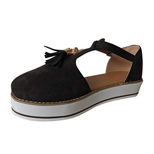 Women's Flatform Sandals,Soft Sole Comfy Flats Platform Tassels Canvas Shoes Closed Toe Sandal Summer Casual Suede Loafers