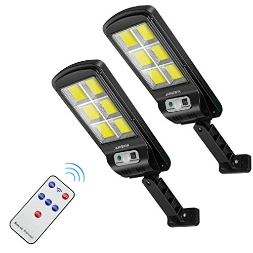 JAMIEWIN 120 led Solar Street Lights Outdoor Wireless Solar Flood Light Motion Sensor Security Light with 3 Lighting Modes for Garden, Street, Deck, Fence, Patio, Path - 2 Pack