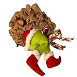 BESTOYARD Christmas Wreath Santa Butt Legs Wreath Thief Stole Burlap Wreath Animated Santa Kicking Legs Wall Decoration for Home Party Fireplace Ornaments