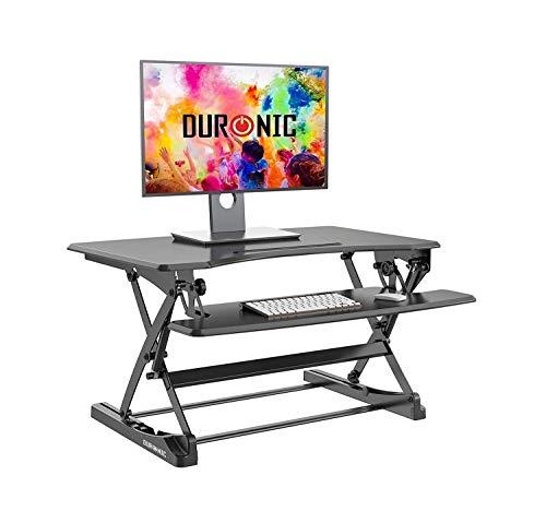 Sentado y de pie mesa de altura ajustable Oficina Estación de trabajo Plataforma 92x56cm Eleva la pantalla 16.5-41.5cm PC Ordenador, teclado del ordenador portátil vertical ergonómico escritorio Tabla