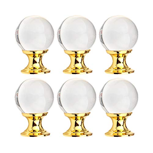 UULU 6 pomelli in vetro cristallo liscio tirare trasparente maniglie rotonde per cassetti, armadietti, porte, credenze, credenze, comò, casa, ufficio, fai da te con 2 tipi di viti (oro)