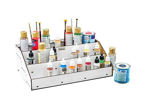 PROSCALE Organizador pinturas modelismo - Soporte kit citadel pintura acrilica vallejo soporte pinceles miniaturas warhammer Mesa de trabajo modelismo (B: Frontal)