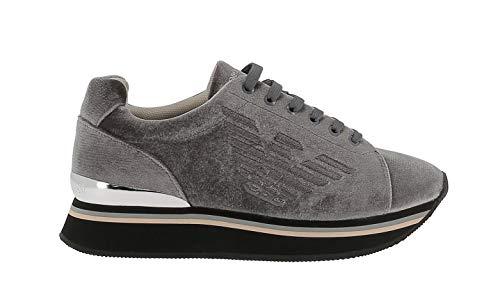 Emporio Armani Sneakers Grau Samt mit Stickerei Adler - 37