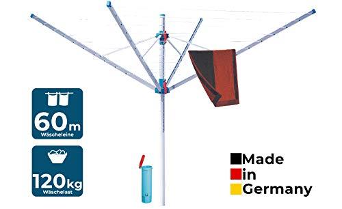 BLOME Wäschespinne Primera - Wäscheständer für den Garten inkl. Schutzhülle & Bodenhülse, Wäscheschirm mit 60m Leinenlänge, hohe Belastbarkeit, stufenlos höhenverstellbar, Made in Germany