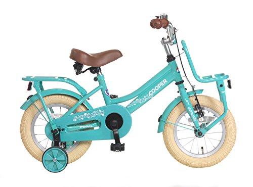 Kinderfahrrad Mädchen Popal Cooper 14 Zoll mit Vorradbremse am Lenker und Rücktrittbremse, Stützräder und Gepäckträger Himmelblau 95% Zusammengebaut