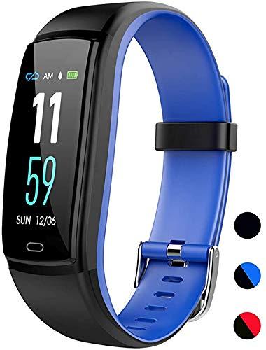 ZBHWYD Adecuado para iPhone y Android teléfono móvil, relojes inteligentes, con presión arterial, monitor de ritmo cardíaco, IP68, impermeable, con podómetro, contador de calorías, negro y azul.