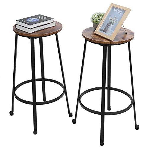 Dioche Juego de 2 taburetes altos de bar de estilo industrial vintage con reposapiés, sillas de cocina con estructura de acero estable, 74,5 x 37 cm