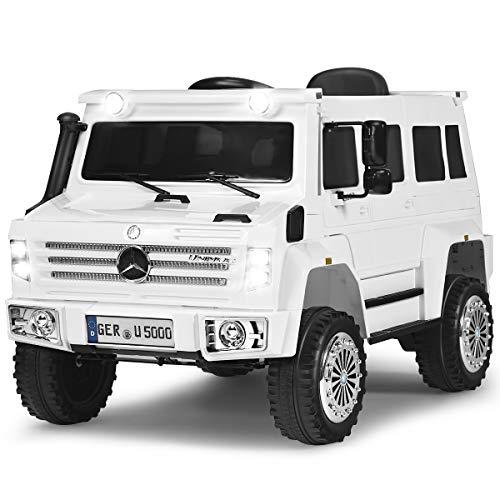 GOPLUS Elektroauto, Elektro Kinderauto, Kinderfahrzeug mit Fernbedienung, mit Musik & LED-Scheinwerfer & USB, Vorwärts & Rückwärts, EIN-Knopf-Start, mit 30 kg Belastbar