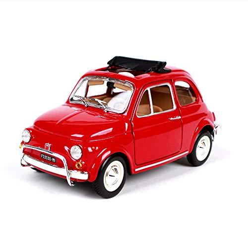 LUCKYCAR Auto modellini 1:24 1968 Fiat 500L, Modello di Auto in Lega di Simulazione, Modello di Auto Fiat Classico,Il Cofano e Le Porte Sinistra e Destra Possono Essere Aperte,Collezione Auto